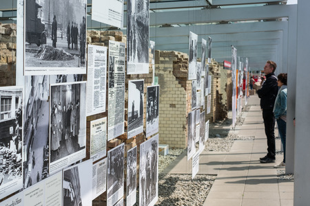 Berlin, Germany - may, 2018: People at the Topography of Terror (German: Topographie des Terrors) outdoor   history museum in Berlin, Germany Editorial