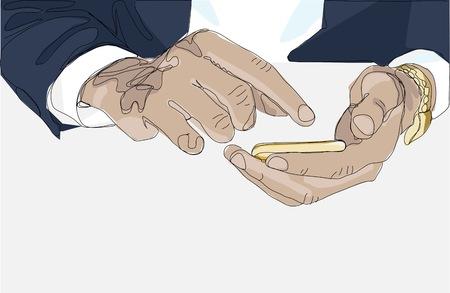 businessmen holding mobile phone illustration - business communication concept