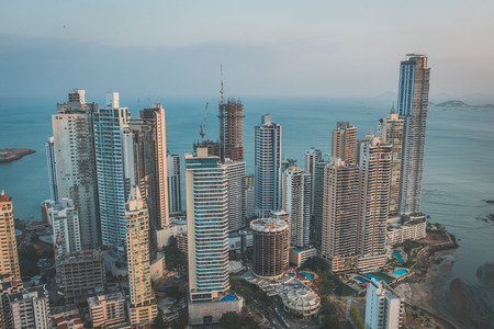 skyscraper buildings, downtown city aerial of Panama City