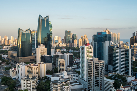 Aerial view of the city skyline of Panama City business district 報道画像