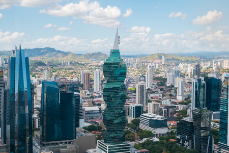 The famous F & F Tower, office building and skyline of Panama City, Panama