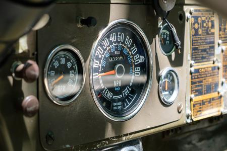 vintage speedometer  tachometer on  old car dashboard - oldtimer interior - Stok Fotoğraf