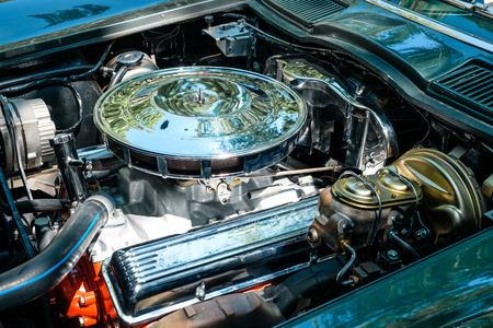 Old car engine interior - oldtimer automobile motor Stock Photo