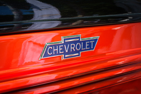 Closeup of the logo design  brand name of CHEVROLET at Vintage Car and Vintage Car Event in Berlin, Germany