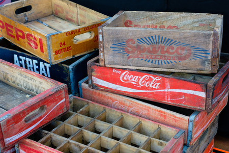 The Coca Cola and Pepsi brand logo on vintage box  case for bottlesboxes  case for bottles Sajtókép