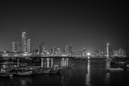 Panama City panorama at night - Cityscape skyline Stok Fotoğraf