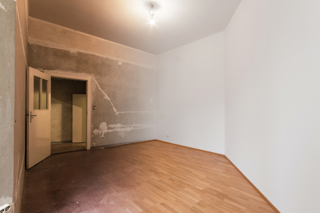 empty room renovation concept - before and after Banco de Imagens