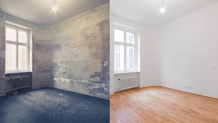 Renovierung vorher und nachher - leeres Apartmentzimmer, neu und alt,
