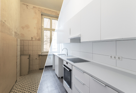new kitchen before and after renovation - white kitchen Standard-Bild - 104704134