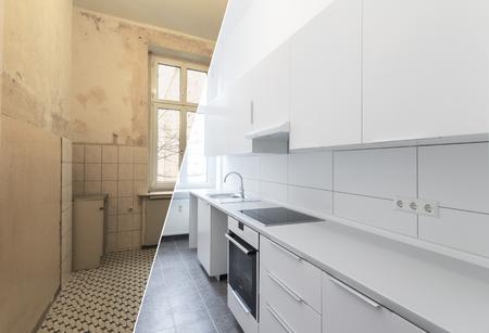 nieuwe keuken voor en na renovatie - witte keuken Stockfoto