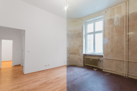 renovation  before and after  - empty apartment room, new and old, Archivio Fotografico - 104704136