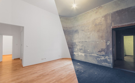 renovation  before and after  - empty apartment room, new and old, Banque d'images
