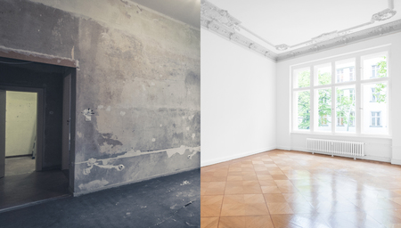 flat renovation, apartment refurbishment, room modernization Stockfoto