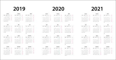 Simple Calendar template for 2019, 2020 and 2021 Stock Photo