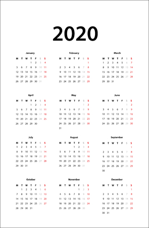 calendar 2020 -  Simple Calendar template for 2020 스톡 콘텐츠