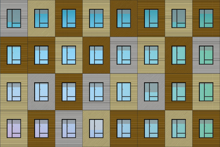 building facade illustration - apartment house vector graphic