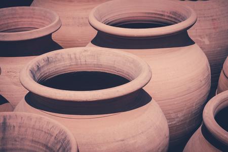 old clay pots, vintage clay pot set -