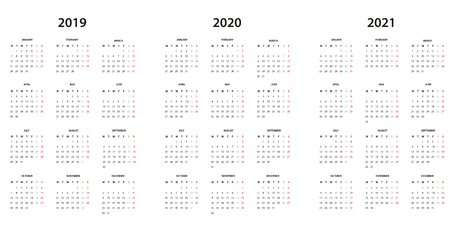 Calendar 2019, 2020 and 2021 - simple template
