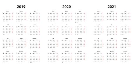Kalender 2019 , 2020, 2021 Kalender einfache Vorlage, deutsch Illustration