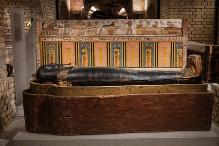 Old egyptian sarcophagus inside the Neues Museum (