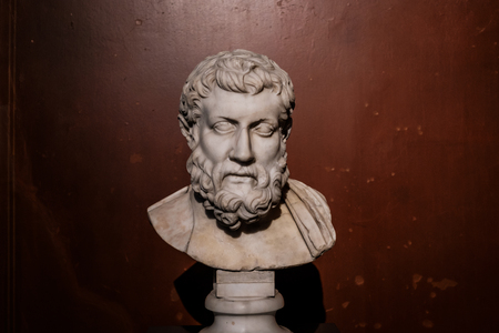 Portrait of old philosopher inside the New Museum, Museum Island in Berlin
