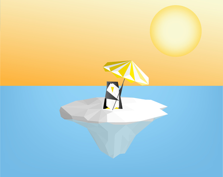 penguin with umbrella on ice floe  - global warming concept vector graphic  illustration