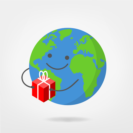 worldwide shipping - world illustration holding package / gift , free vector graphic Illusztráció