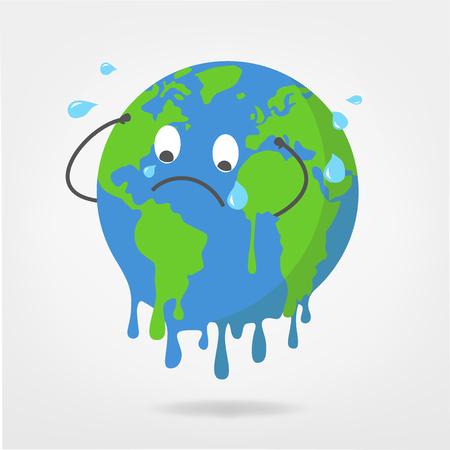 Ilustración del mundo - gráfico vectorial de calentamiento global / cambio climático