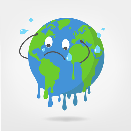 world illustration - global warming / climate change vector graphic