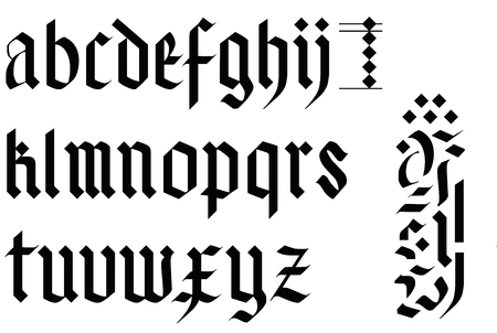 gothic font alphabet - old handwriting abc vector letters