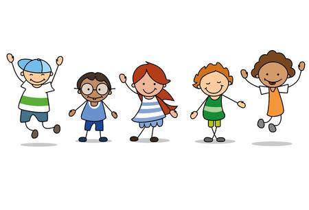 행복한 아이들이 노는 것 - 어린이 그림, 소년과 소녀 벡터 (일러스트)