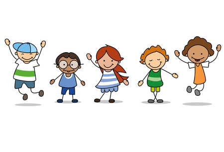 happy kids playing  - children  illustration , boys and girls 스톡 콘텐츠 - 117801825