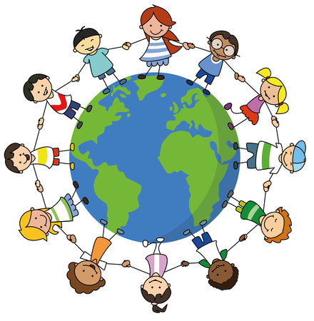 happy kids holding hands on world illustration , children around the world 版權商用圖片 - 126813635