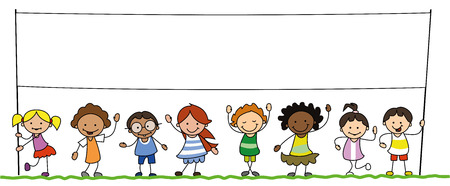 multiethnic group of kids holding blank banner illustration Illustration