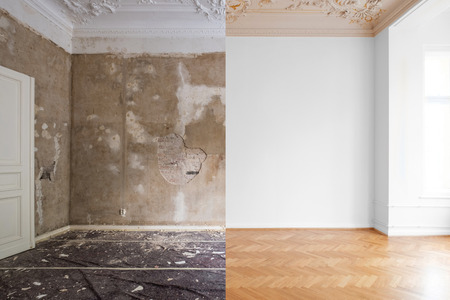 empty apartment room renovation, before and after restoration /  refurbishment