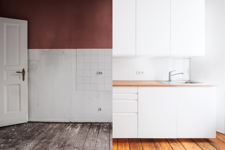 renovation concept - old and new kitchen before and after refurbishment or restoration Foto de archivo