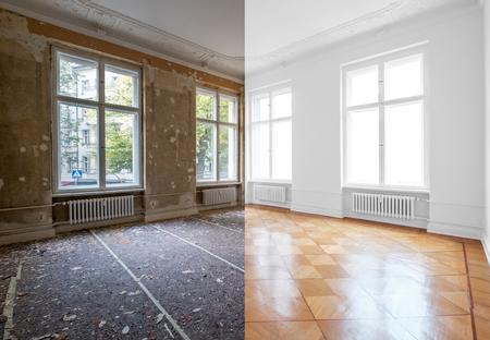 renovación de piso, habitación vacía antes y después de la reforma o restauración Foto de archivo