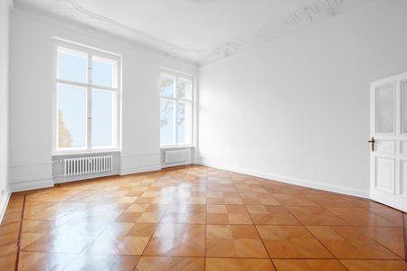 empty room, new flat old building wooden floor and stucco  -