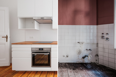 built-in kitchen  before and after  restoration  -  renovation concept - Stok Fotoğraf