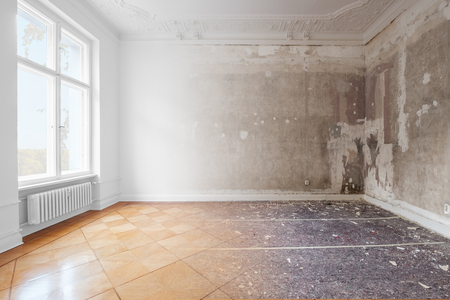 apartment room during renovation, before and after restoration /  refurbishment - merged