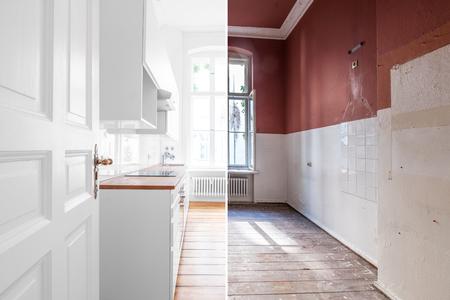 concepto de renovación: sala de cocina antes y después de la remodelación o restauración