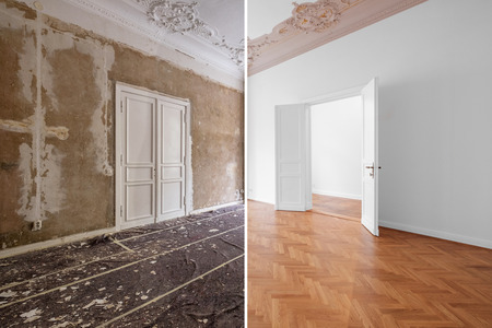 apartment room during renovation, before and after restoration /  refurbishment Stockfoto