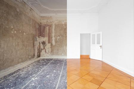 Apartmentzimmer während Renovierung, vor und nach Restaurierung / Sanierung /