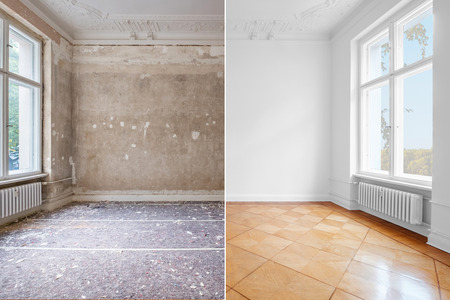 flat renovation, empty room before and after refurbishment old and new interior Archivio Fotografico - 117800587