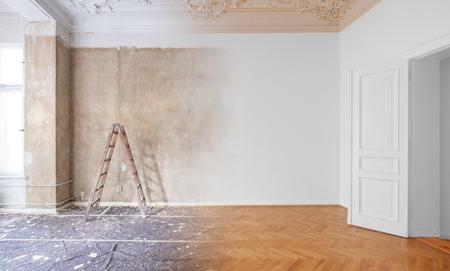 habitación antes y después de la renovación o remodelación Foto de archivo