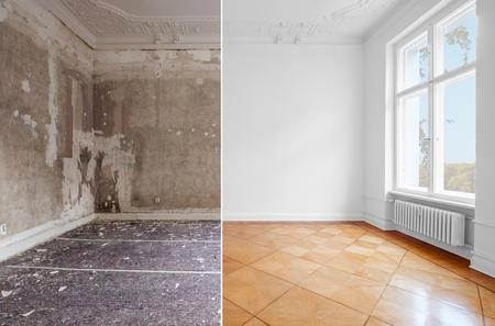 leerer Raum im Altbau-Restaurierungskonzept, vor und nach der Renovierung