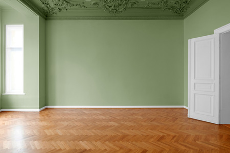 empty room with green painted walls, home renovation concept