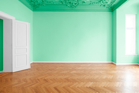 green painted room, apartment renovation with colorful walls