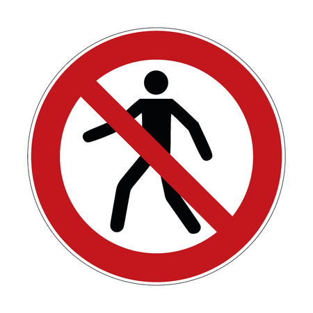 no trespass sign , crossing forbidden sign - vector   illustration Banco de Imagens