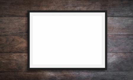 black frame on wooden background -blank picture design mockup -